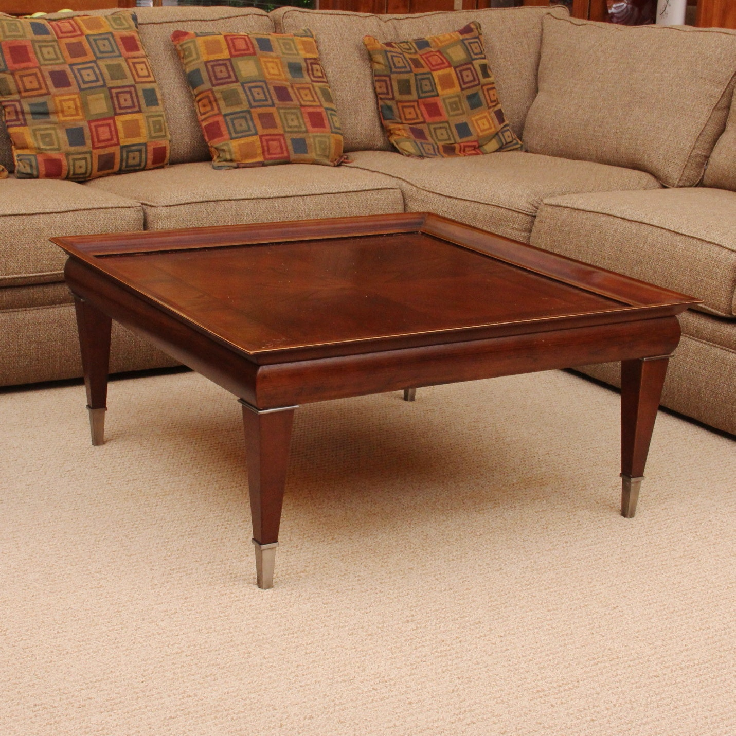 Modern Wood Coffee Table with Metal Accents