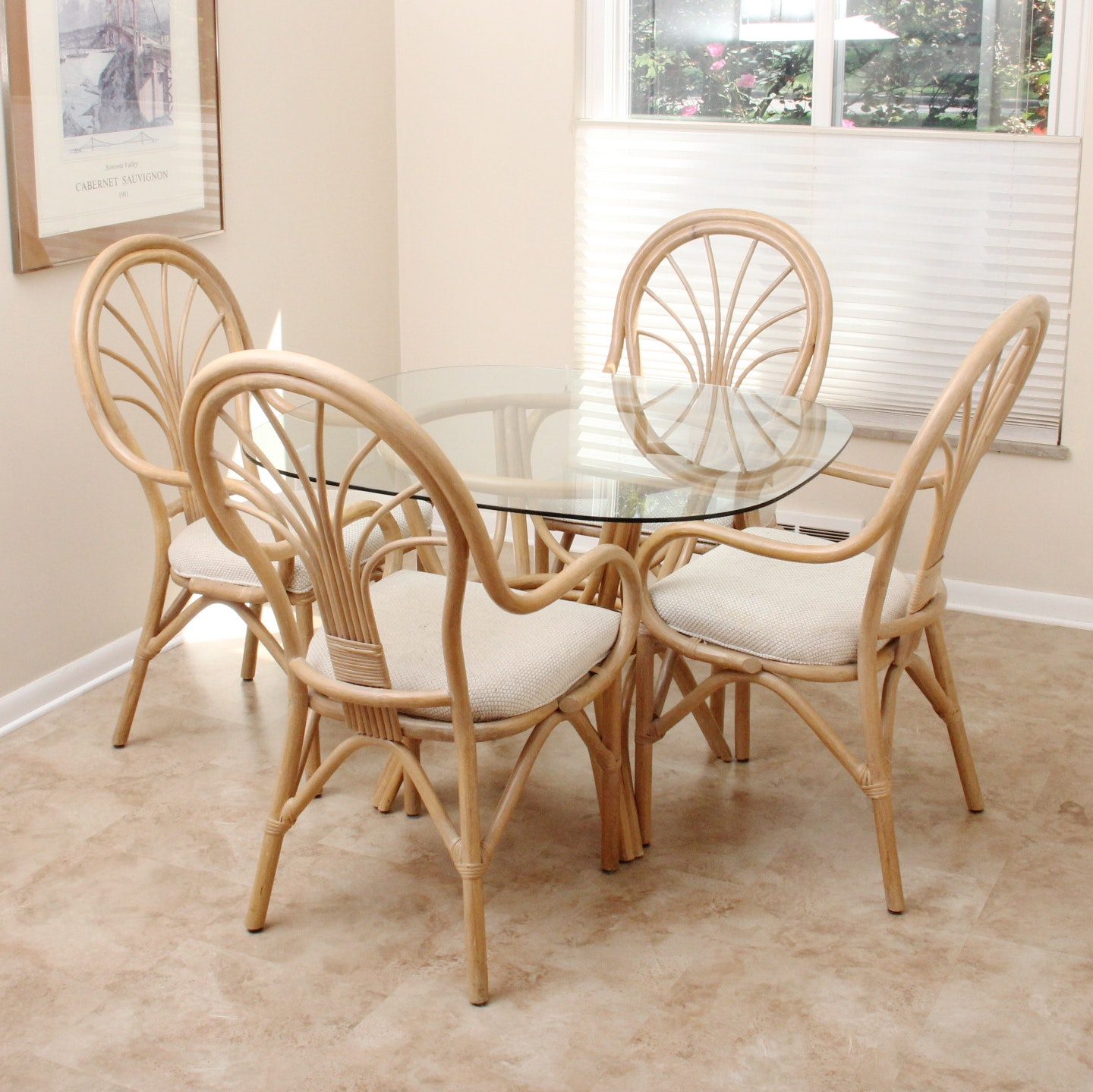 Glass Top Bent Wood Dining Table and Chairs