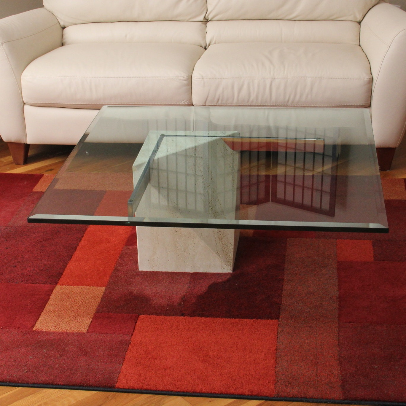 Glass Top Marble Coffee Table