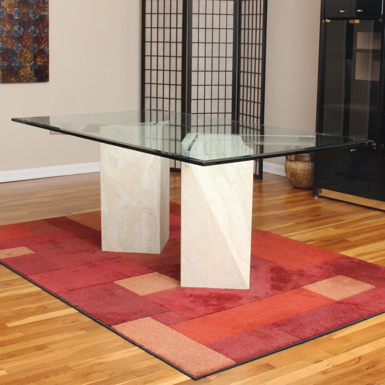 Glass Top Marble Dining Table