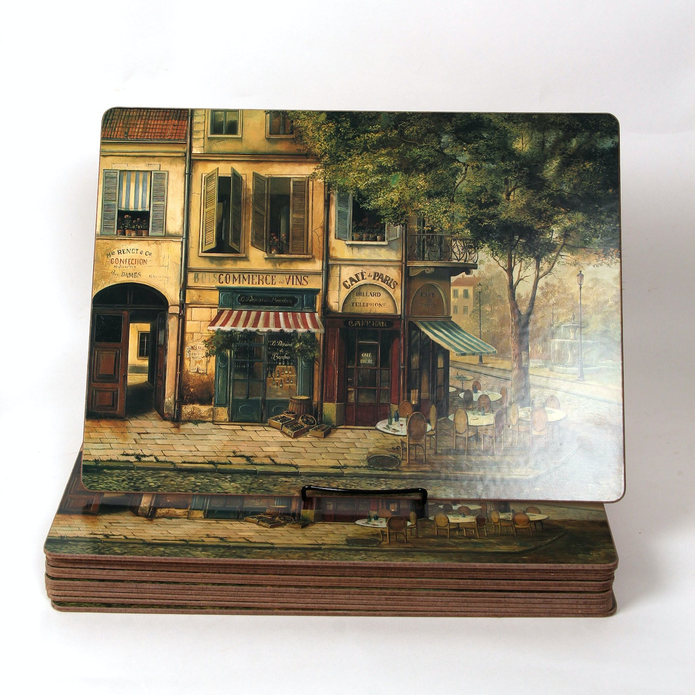 vintage cork back paris street scene placemats ebth. Black Bedroom Furniture Sets. Home Design Ideas