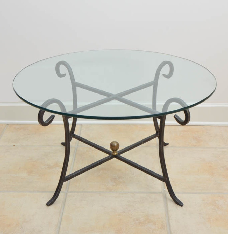 Wrought iron coffee table with round glass ebth for Round glass top coffee table wrought iron