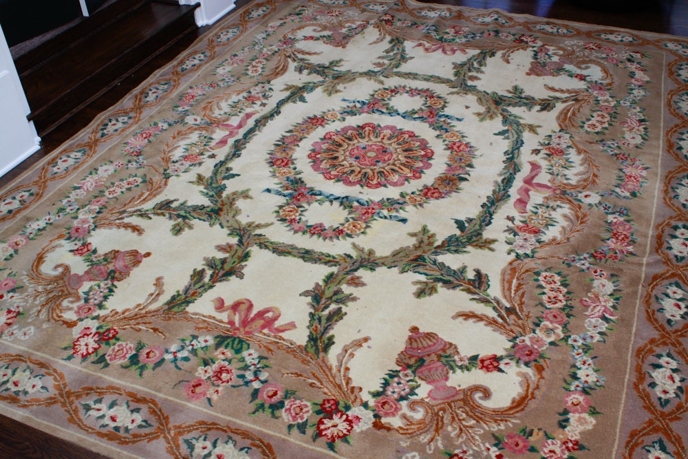 Handknotted Aubusson Style Area Rug