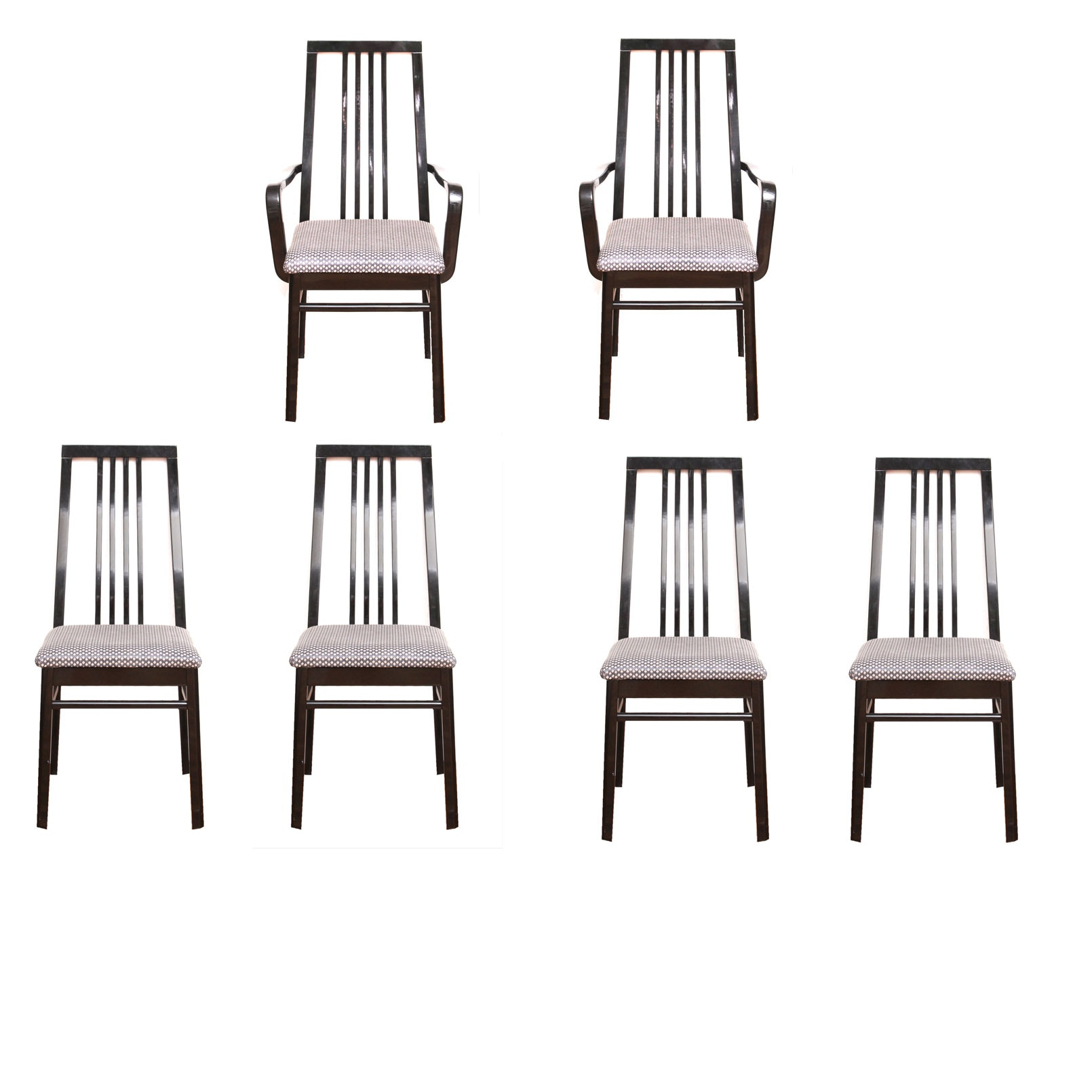 Set of Six Glossy Black Dining Chairs