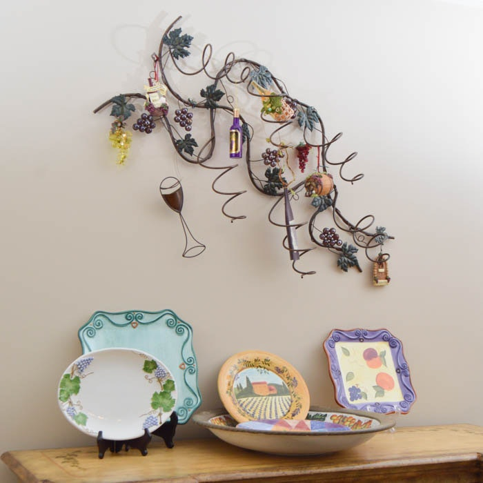 Decorative Platters and Wine Rack