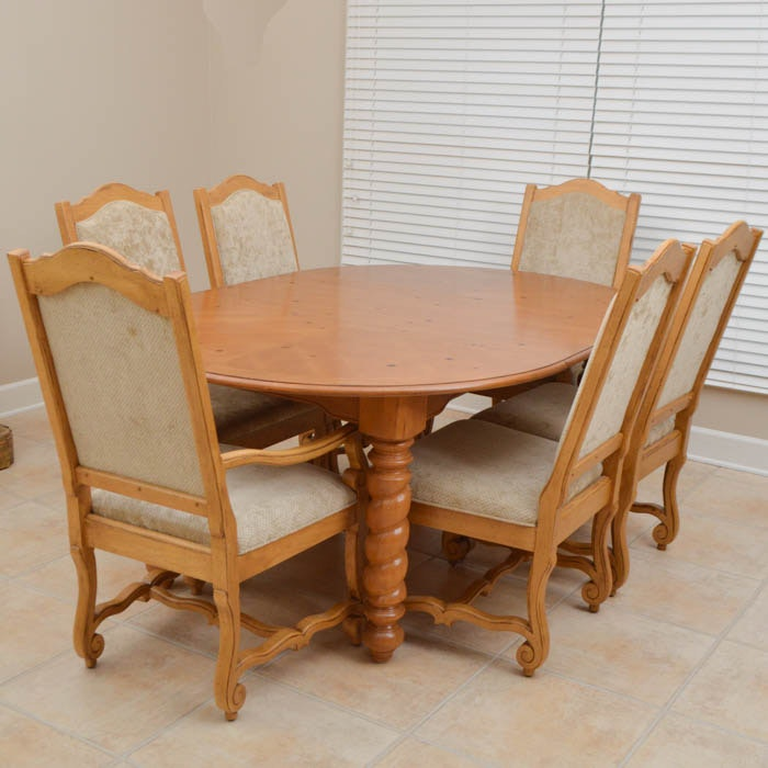 Broyhill Pine Dining Table and Six Chairs