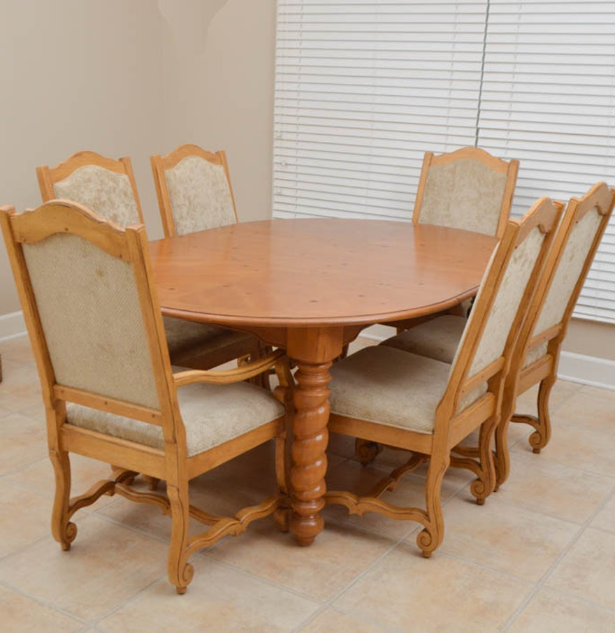 Broyhill Pine Dining Table and Six Chairs : EBTH
