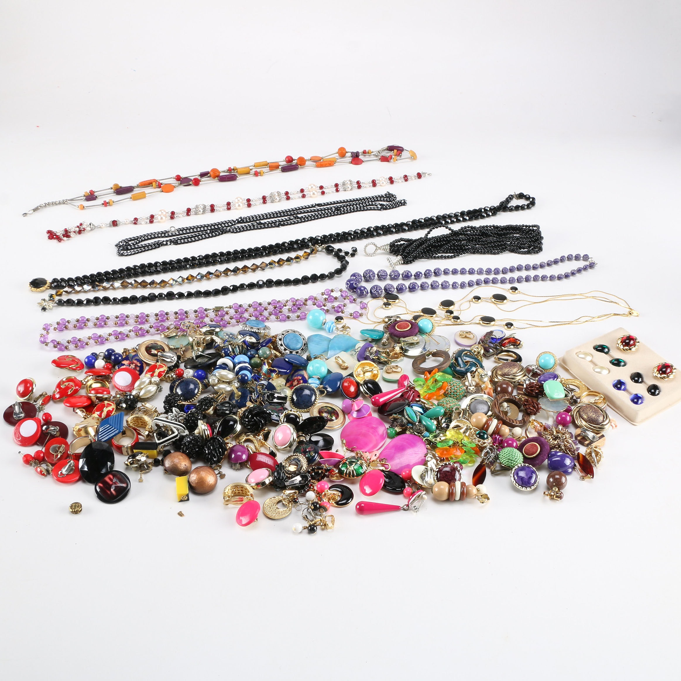 Assortment of Colorful Vintage Costume Jewelry