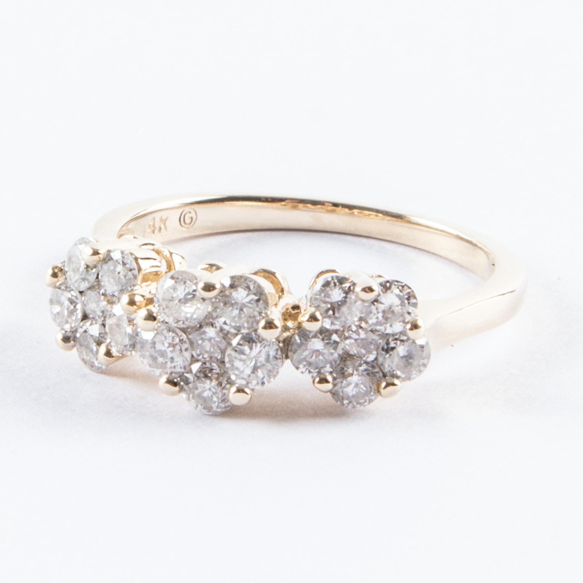 14K Gold Diamond Flower Ring