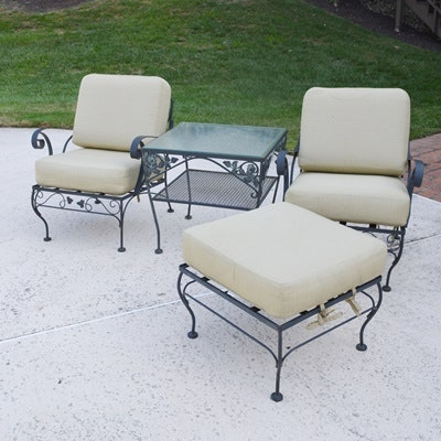 two metal patio chairs ottoman and side table ebth
