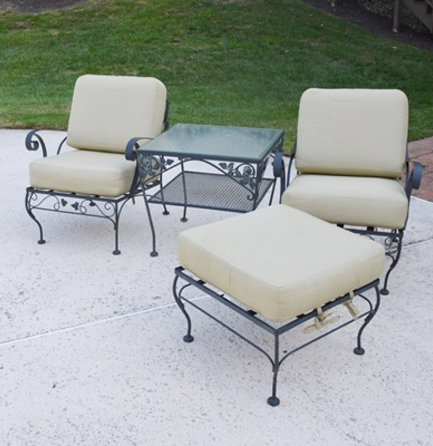 Two metal patio chairs ottoman and side table ebth for Metal patio table and chairs