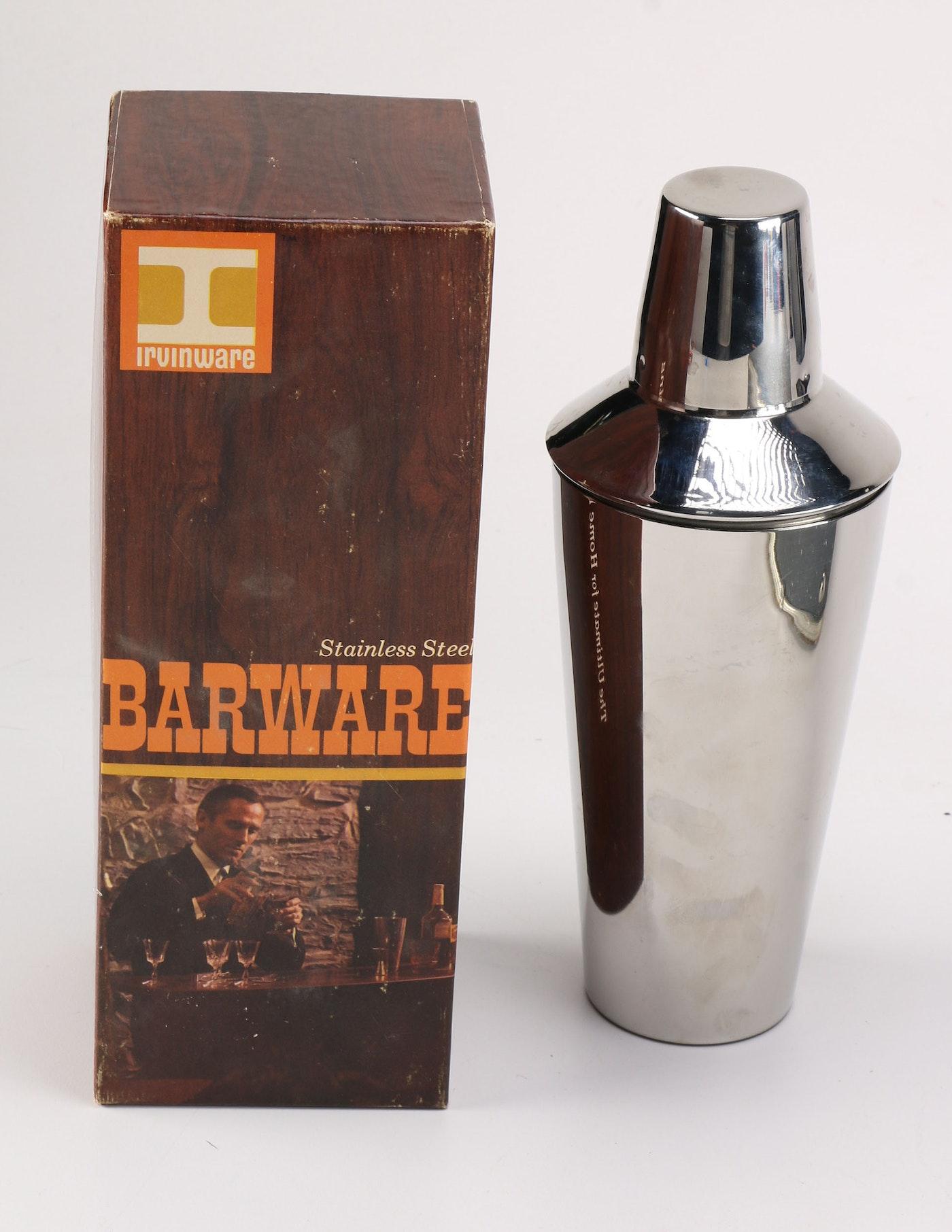 mid century modern barware set including an irvinware cocktail shaker ebth. Black Bedroom Furniture Sets. Home Design Ideas
