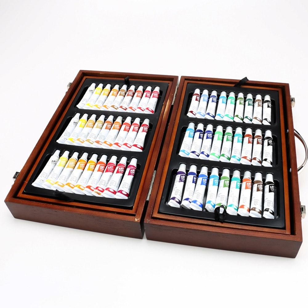 110 Piece Art Studio Wooden Case Art Set : EBTH