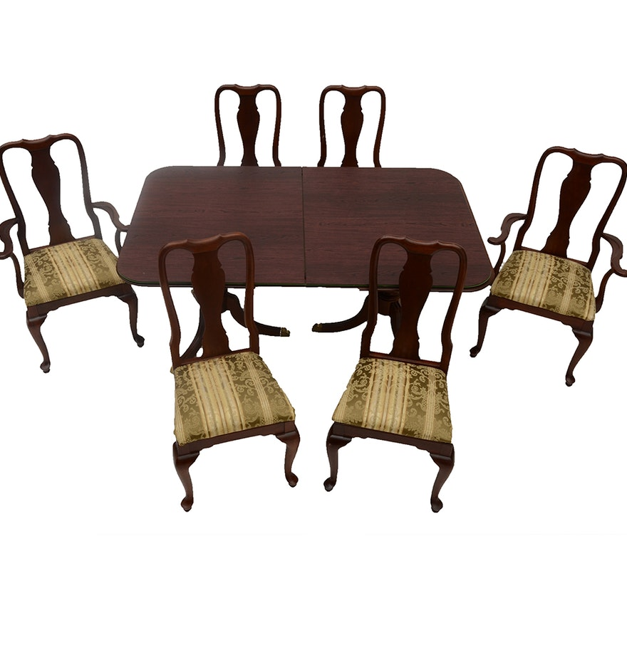 Knob Creek Cherry Queen Anne Style Dining Table and Six Chairs : EBTH