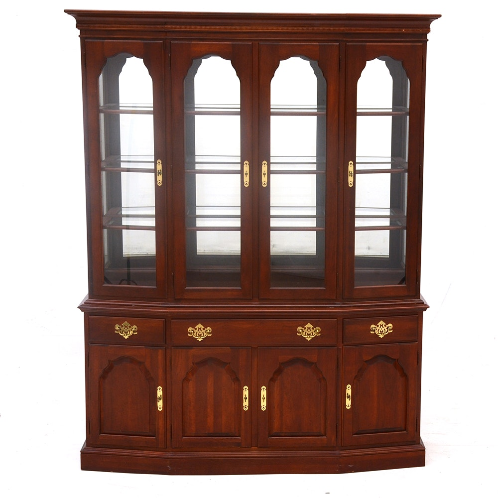 Cherry Two Piece China Cabinet Ebth