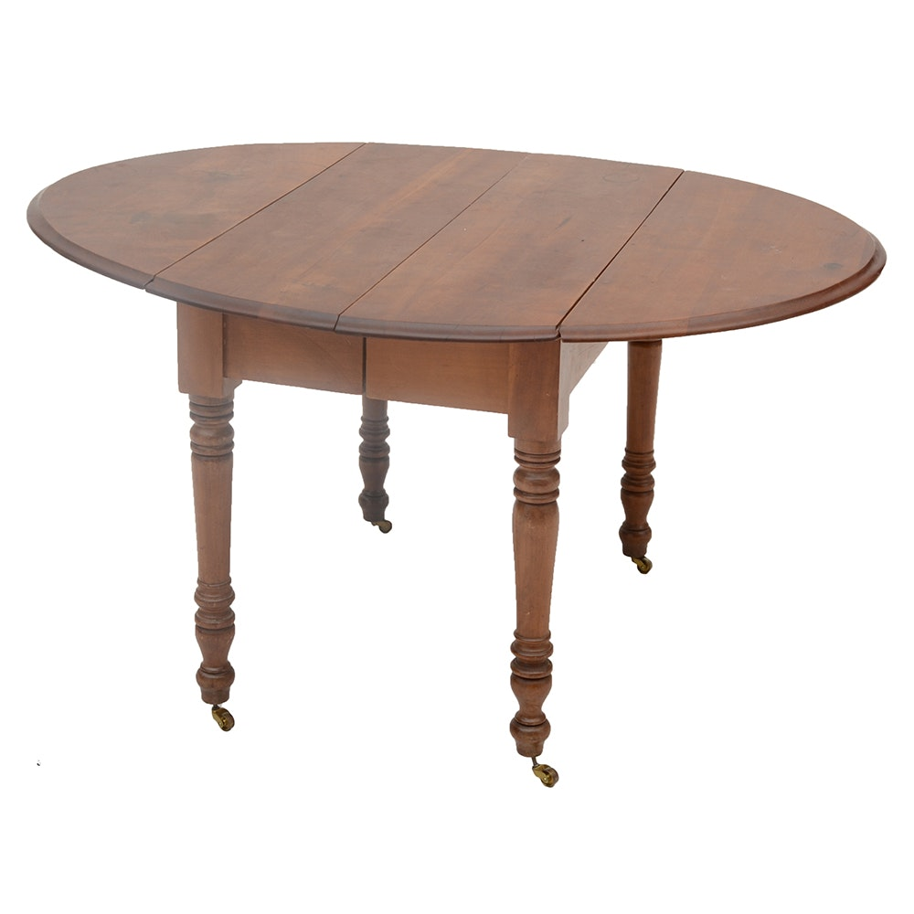 Cherry Drop-Leaf Table and Four Leaves