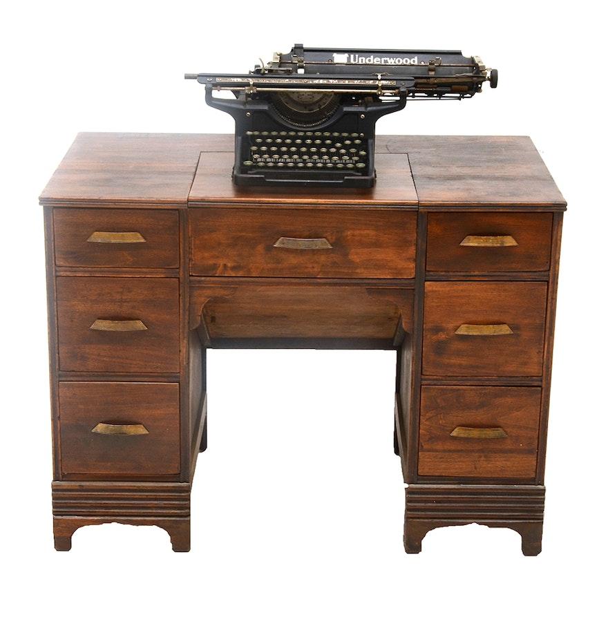 Early 20th Century Convertible Typewriter Desk with Vintage Typewriter ... - Early 20th Century Convertible Typewriter Desk With Vintage