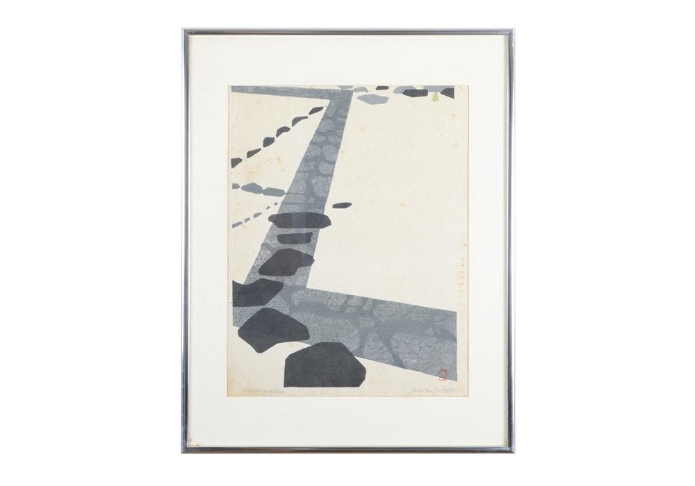 "Hodaka Yoshida Signed ""Stepping-Stones"" Woodblock Print"