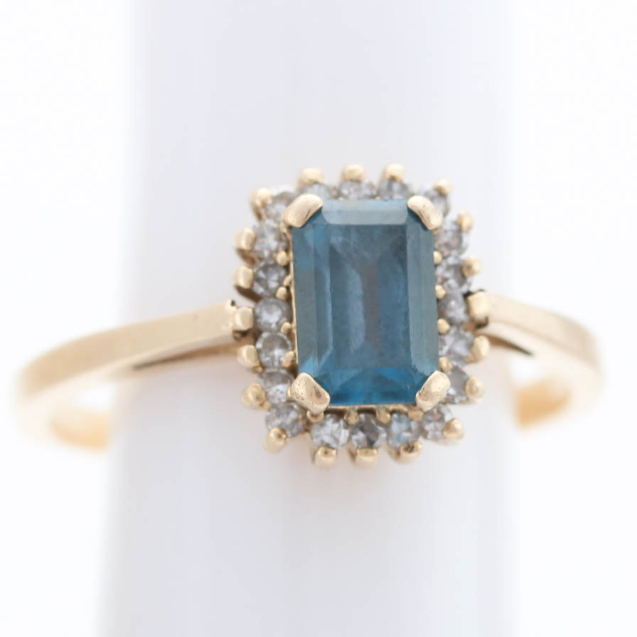 14K Yellow Gold Diamond Topaz Ring