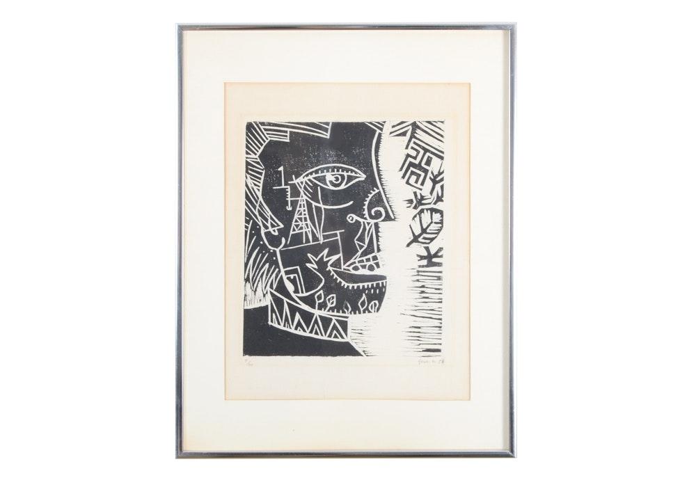 Limited Edition Yasu Signed Woodblock Print