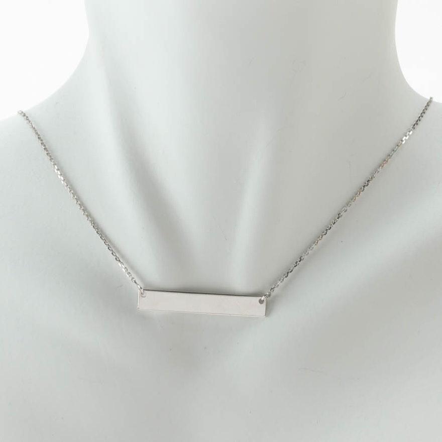 Midas turkish 14k white gold bar pendant necklace ebth midas turkish 14k white gold bar pendant necklace aloadofball Gallery