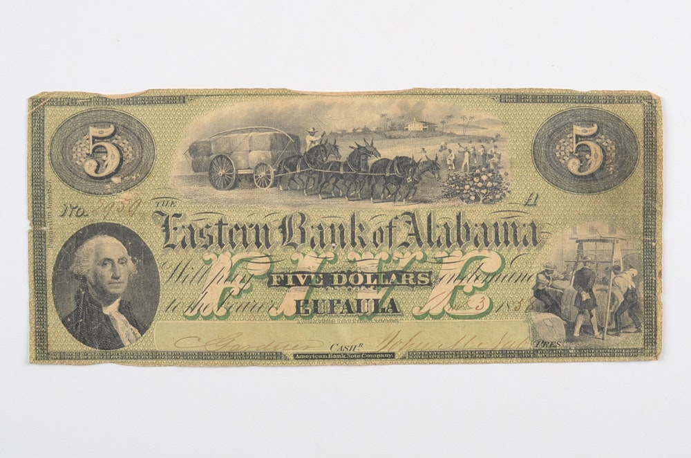1838 Five Dollar Obsolete Note from the Eastern Bank of Alabama
