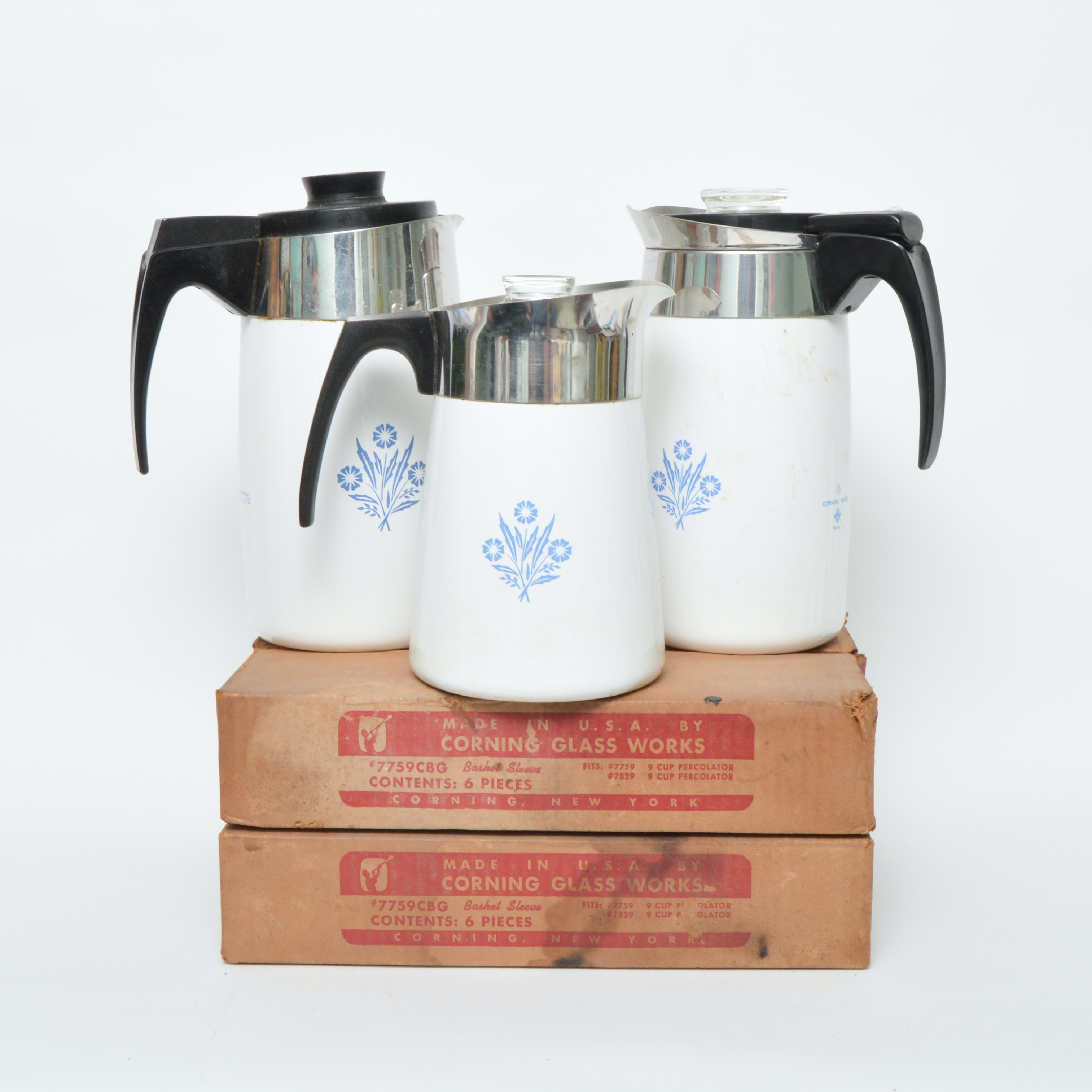 Corning Ware Coffee Pots and Pyrex Basket Sleeves