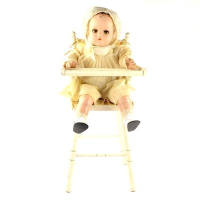 "Vintage Madame Alexander ""Little Genius"" Dionne Quintuplet Composition Doll in High Chair"