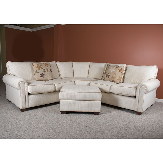 Contemporary Three Piece Sectional Sofa and Ottoman by J