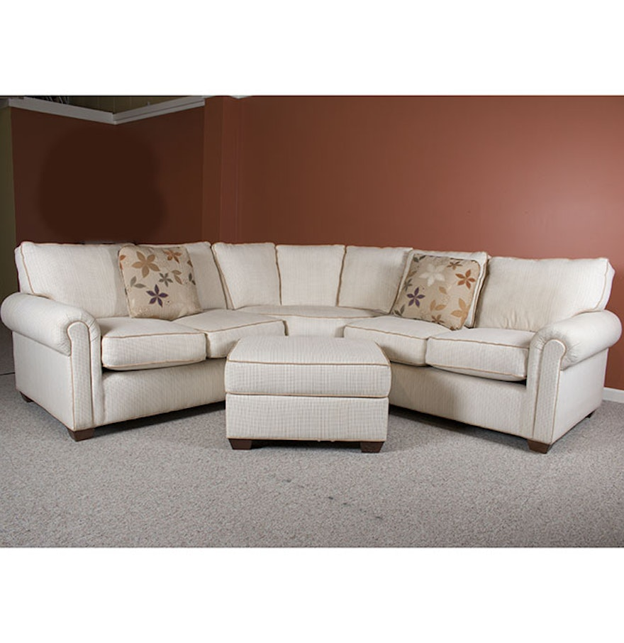 Contemporary three piece sectional sofa and ottoman by j for 3 piece sectional sofa with recliner