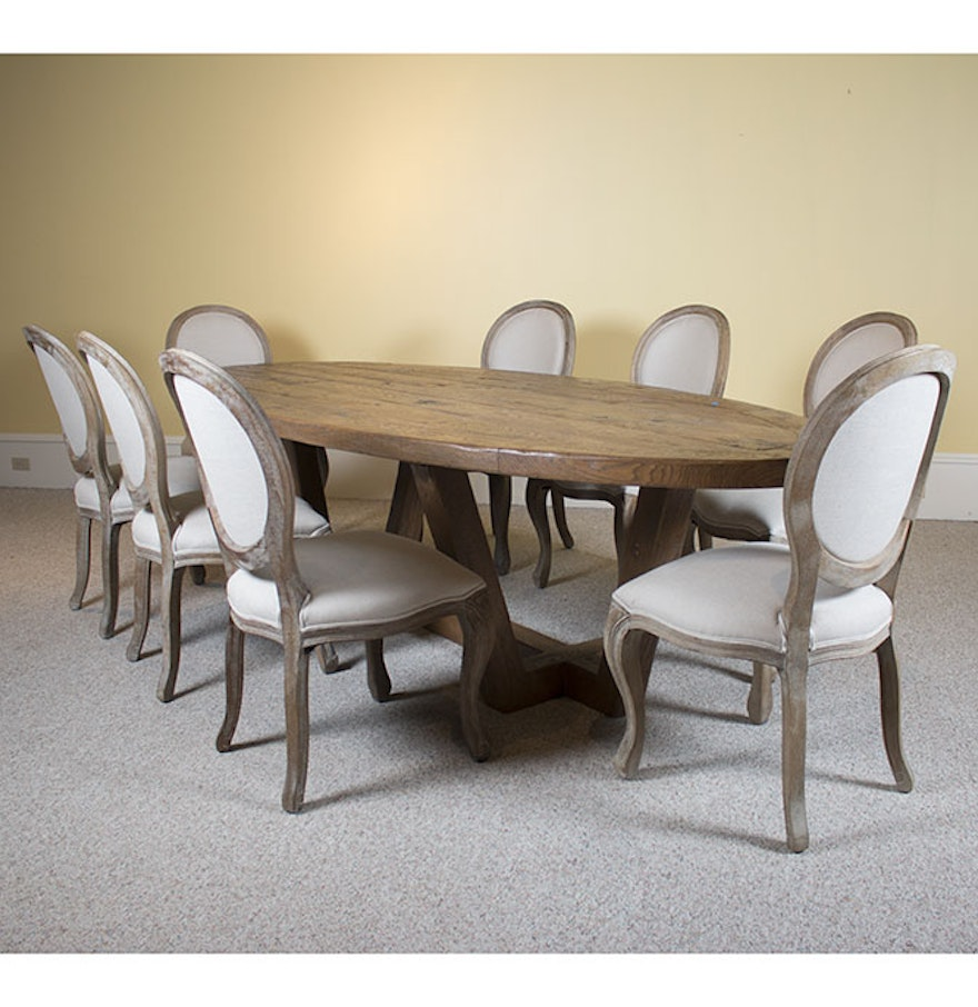 contemporary rustic dining table with eight arhaus margot chairs ebth. Black Bedroom Furniture Sets. Home Design Ideas