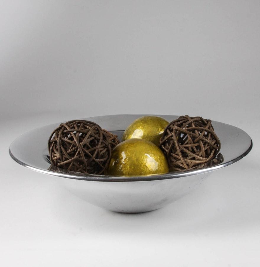 Nambé bowl with decorative balls ebth