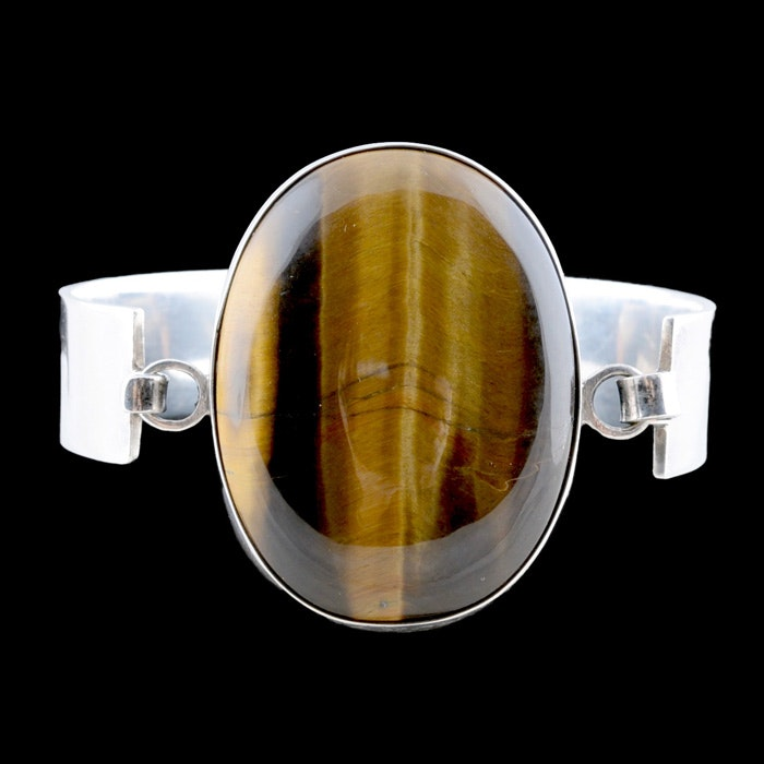 Large Silver and Tiger's Eye Cuff Bracelet