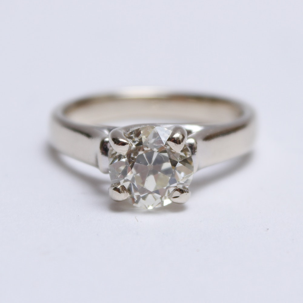 14K White Gold and 1.60 Carat Diamond Solitaire Ring