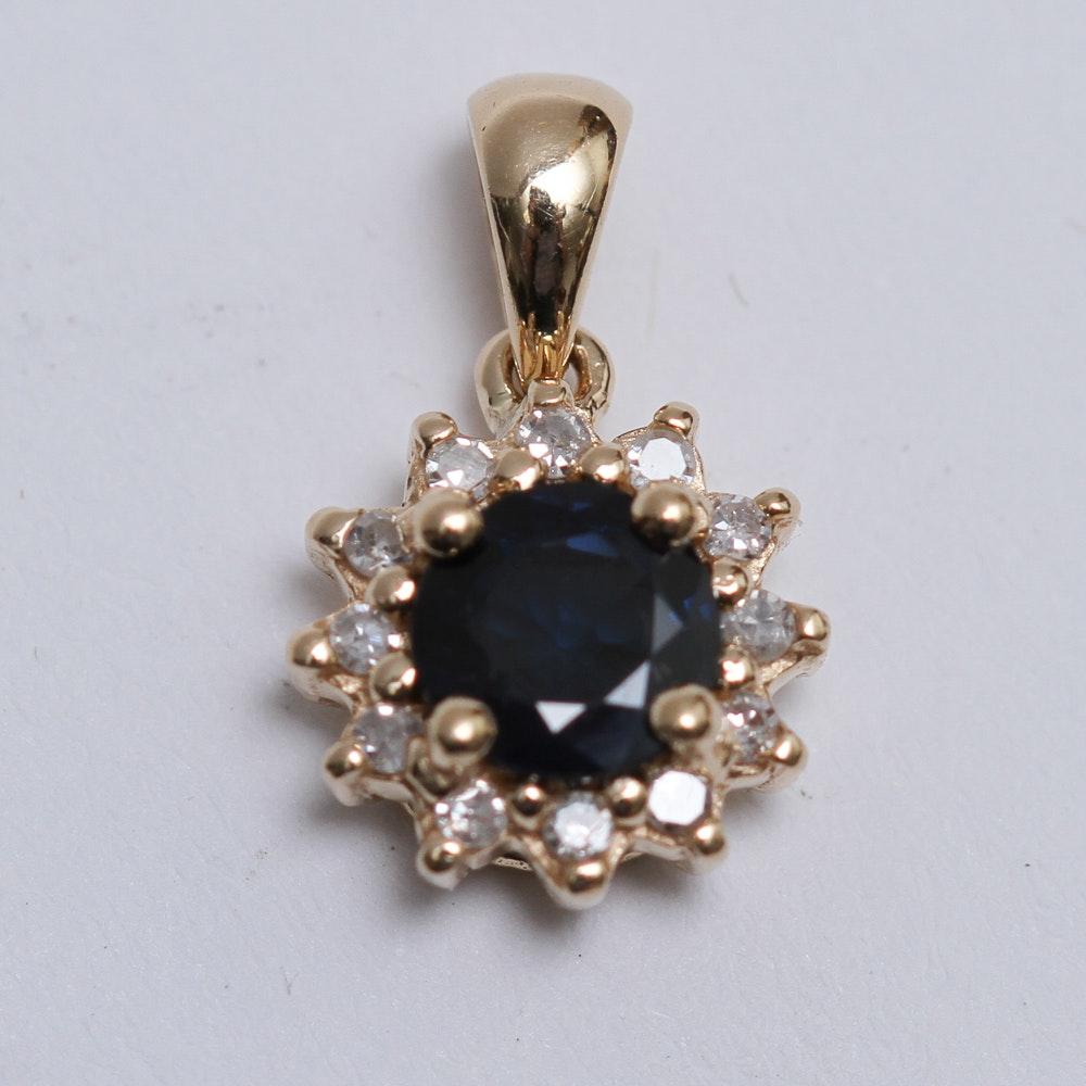 14K Gold Sapphire and Diamond Pendant