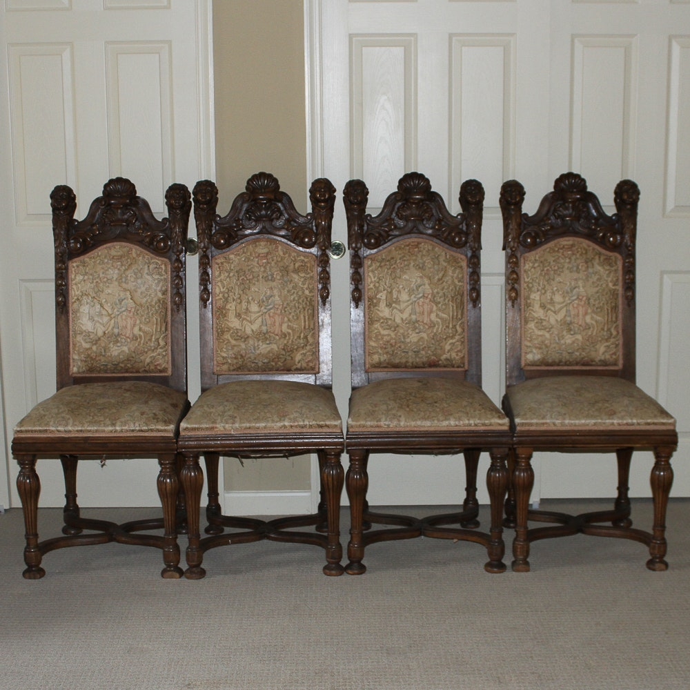 Four Victorian Carved Wood Chairs with Cherubs