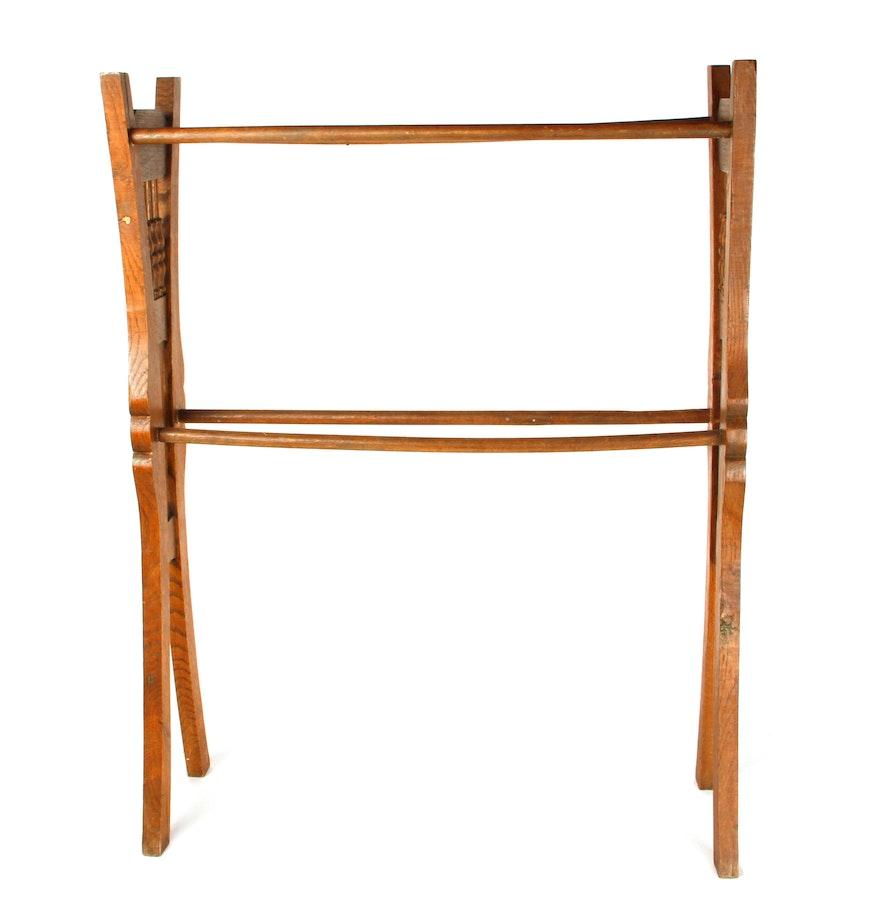 Vintage Carved Wooden Quilt Rack Ebth