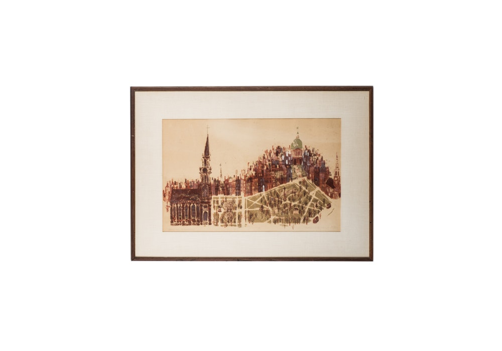 """Blair Lent Limited Edition """"Brick and Brownstone"""" Serigraph"""