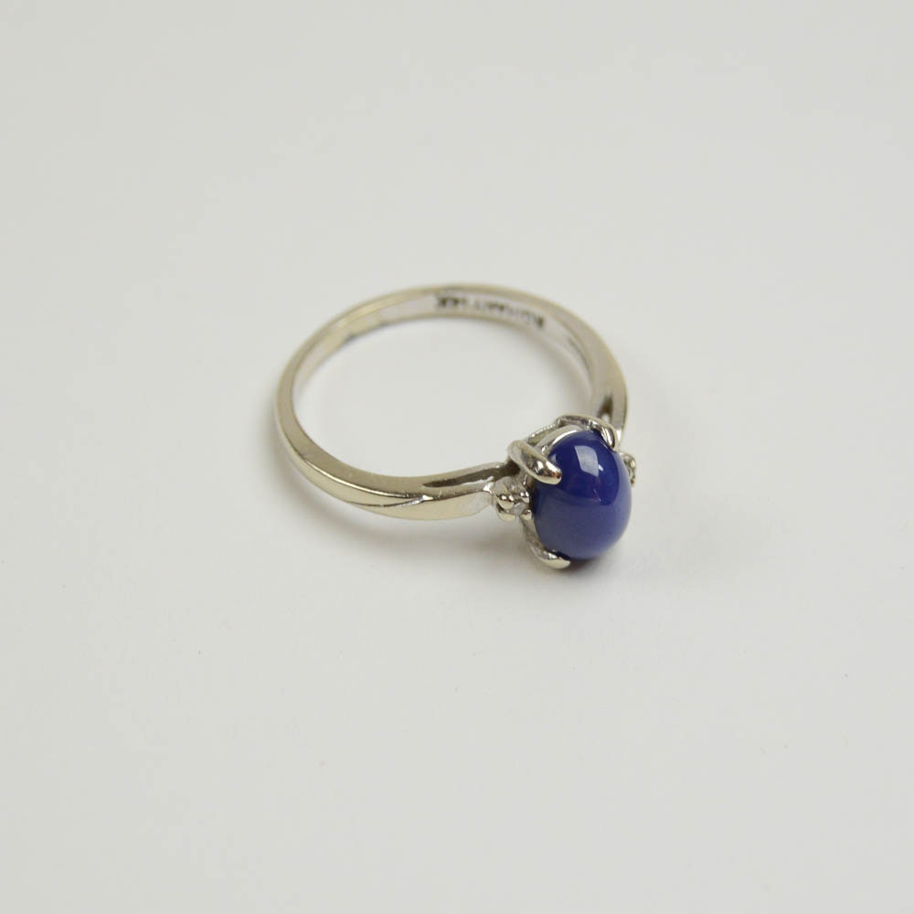 14K White Gold and Star Sapphire Ring