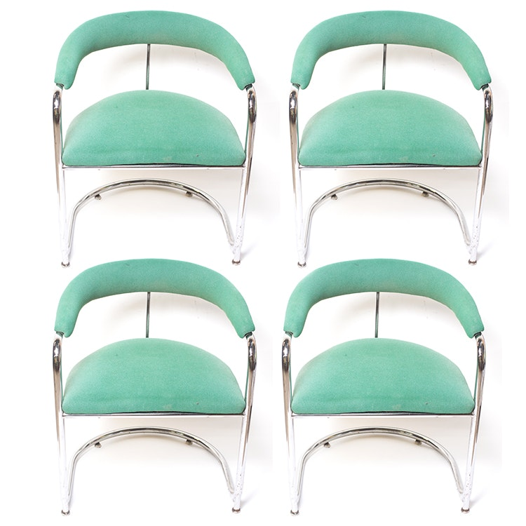 Four Green Wool Mid Century Modern Chairs with Chrome Base