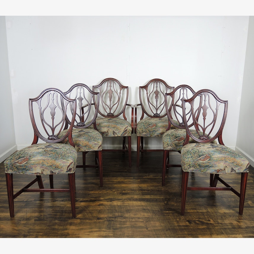 Six Hepplewhite Style Dining Chairs with Duck Tapestry Seats & Vintage Dining Furniture Auction | Antique Dining Furniture for Sale ...
