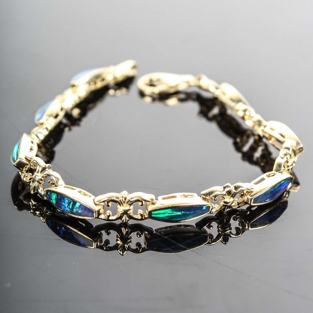 14K Yellow Gold Opal Inlay Bracelet