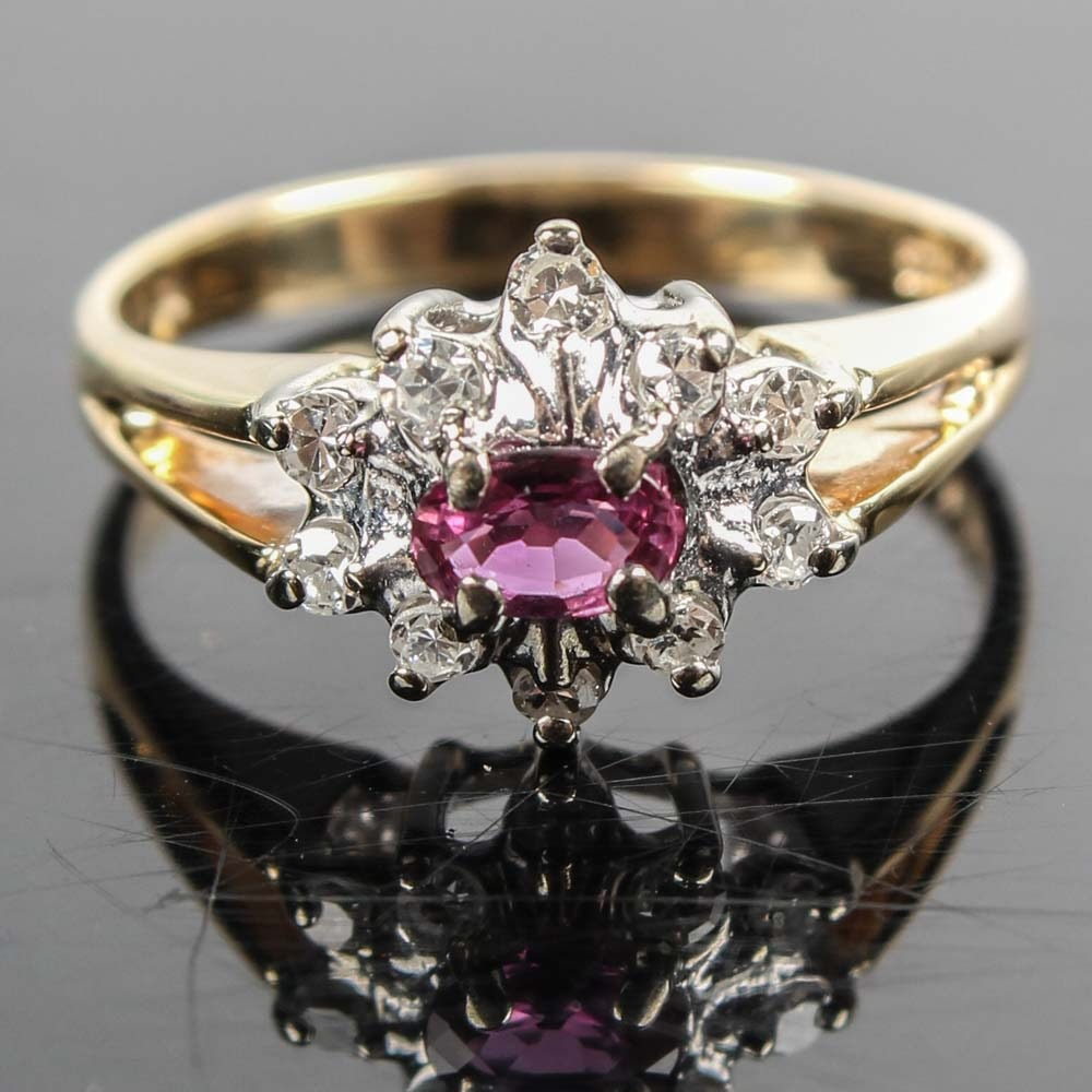 14K Yellow Gold Ruby and 0.20 CTW Diamond Ring
