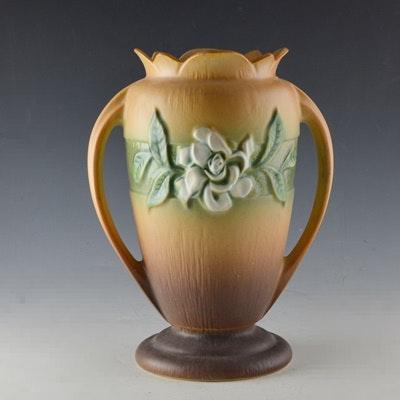 """Roseville Pottery """"Gardenia"""" Tan Vase"""