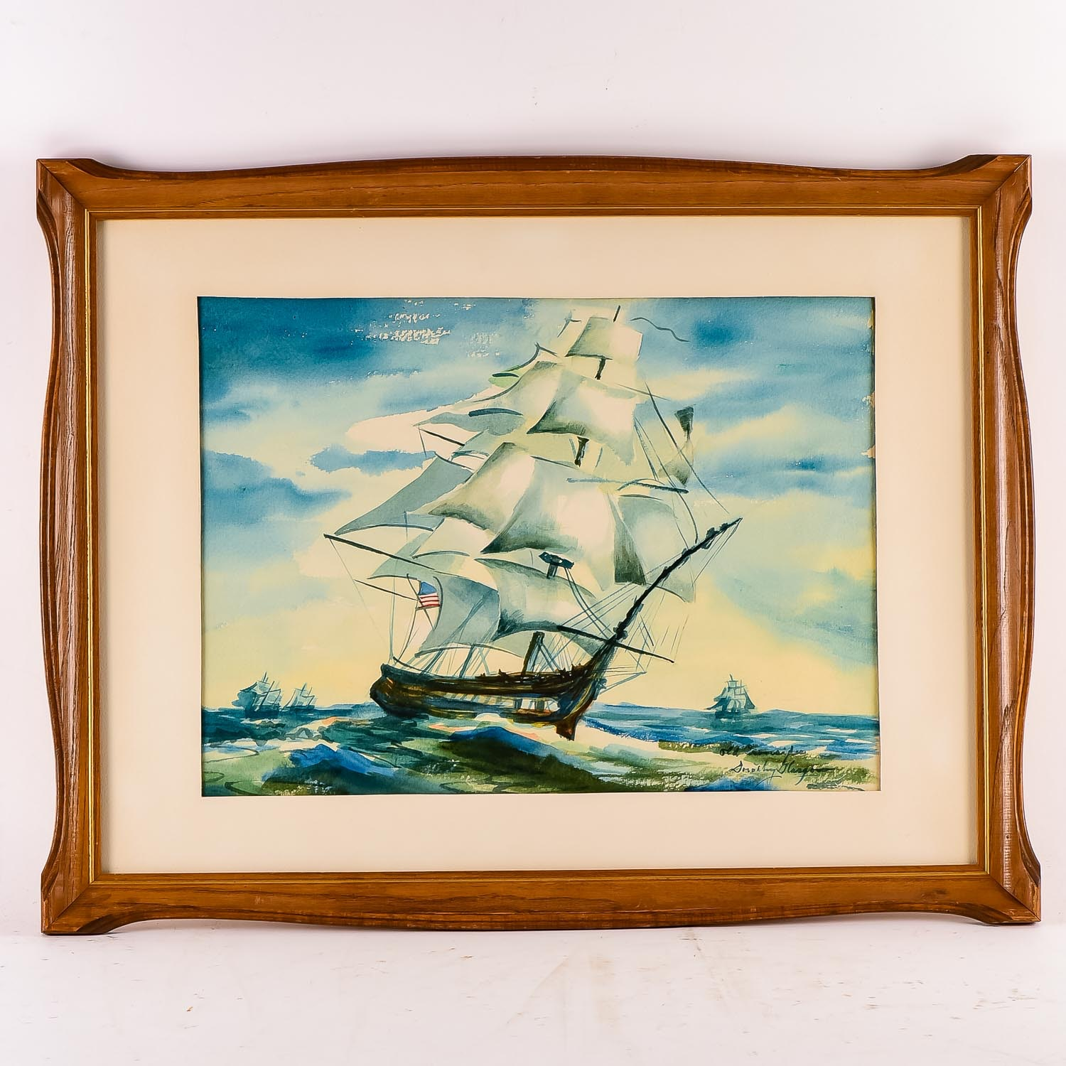 """Dorothy Glasgow Watercolor """"Old Ironsides"""""""