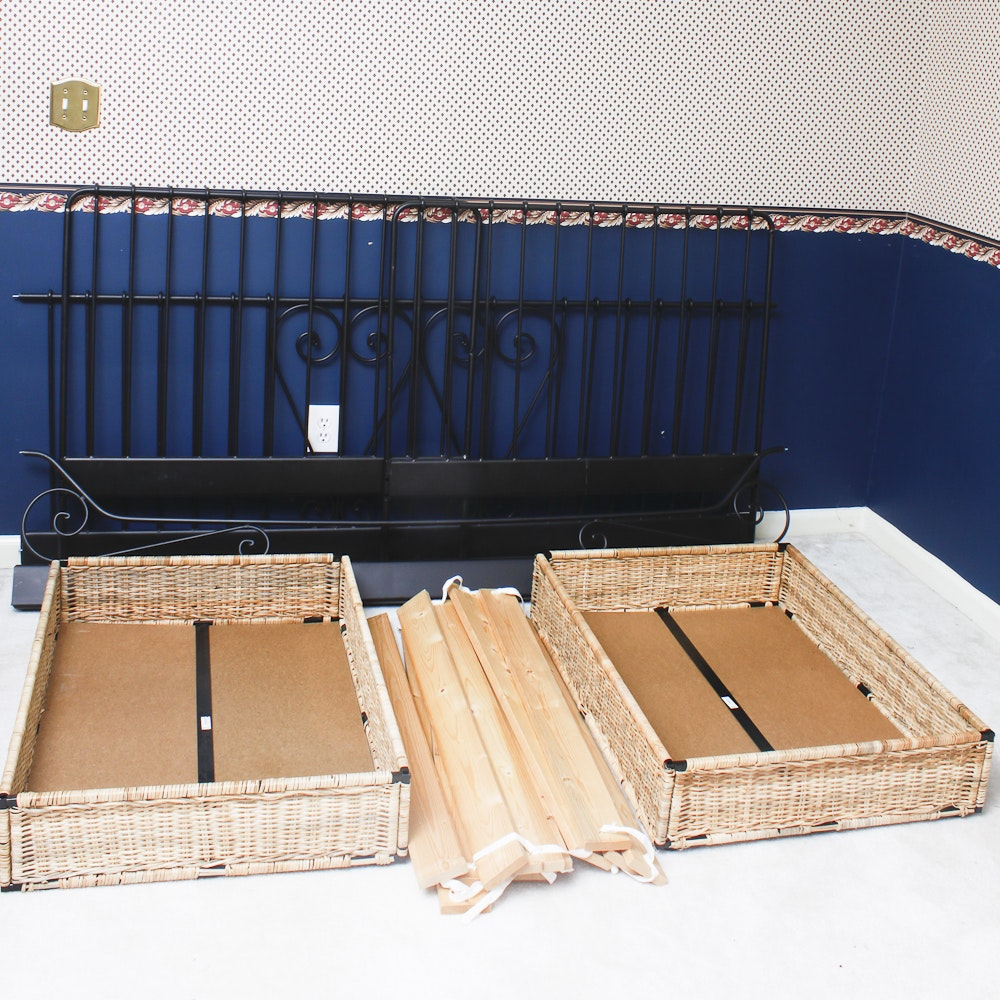 Metal Daybed Frame with Wicker Storage