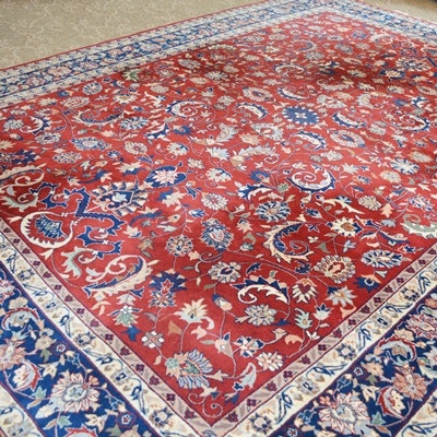 Large Persian-Influenced Hand Knotted Wool Area Rug