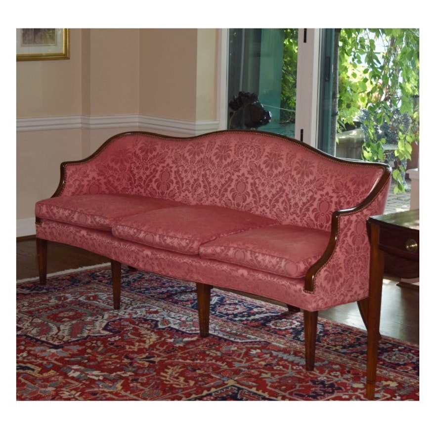 19th Century Chippendale Camel Back Sofa In Mahogany Frame