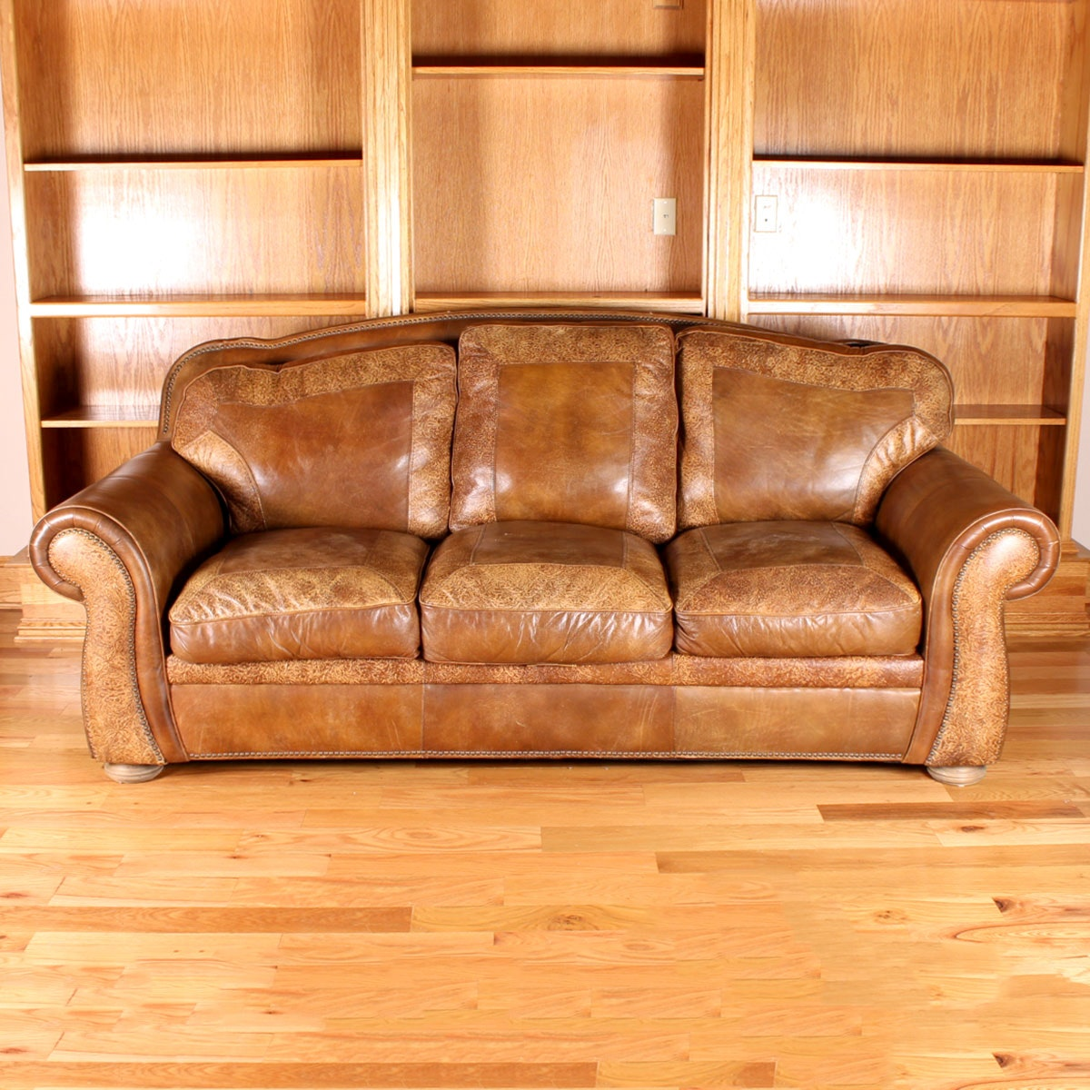Plush Leather Sofa with Western Appeal