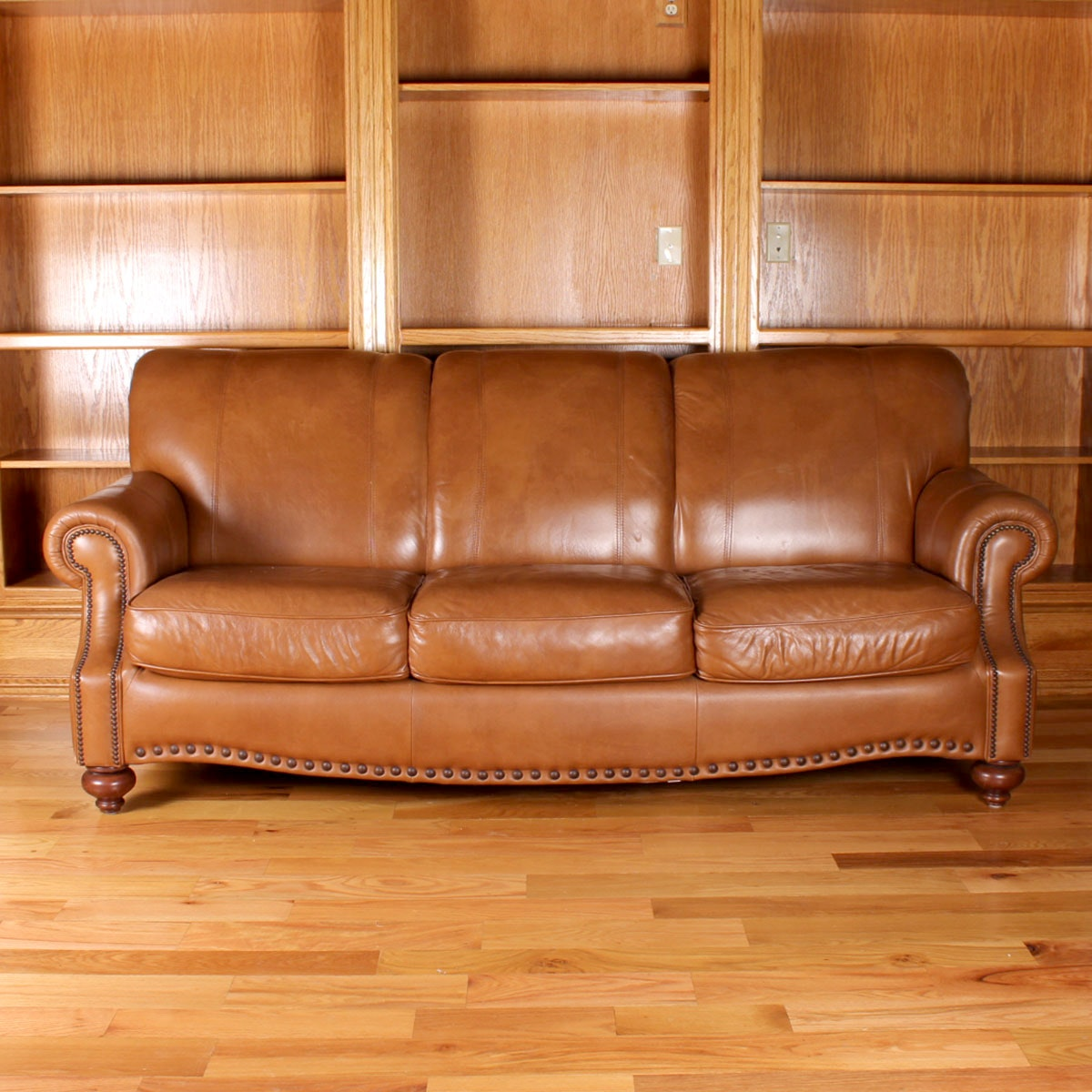 Light Tan Leather Couch: Light Brown Plush Leather Sofa : EBTH